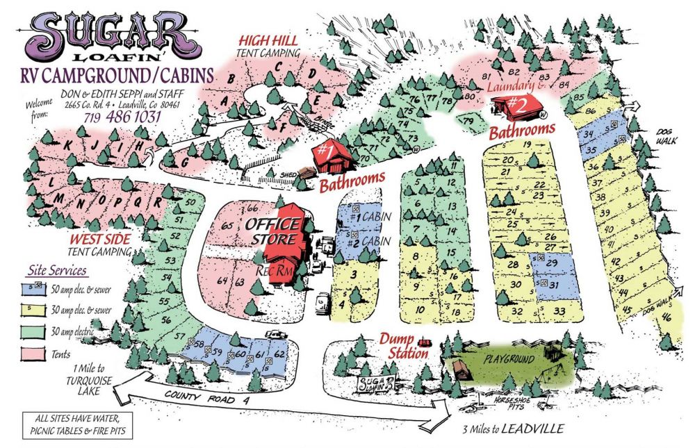 Colorado Campgrounds Map campground map | Sugar Loafin Campground